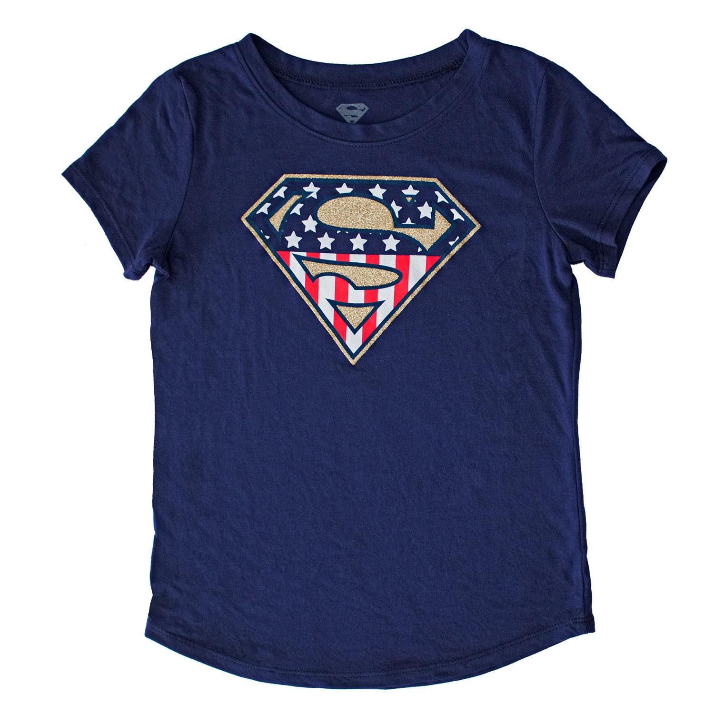 Superman American Flag Glitter Logo Youth Girls Navy Blue Tee Shirt