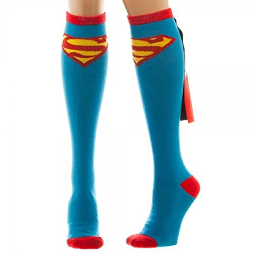 Superman Women's Blue Knee High Shiny Cape Socks