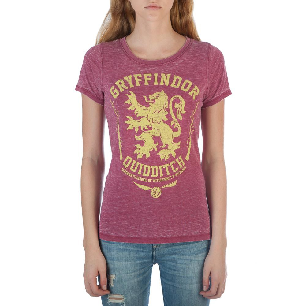 Harry Potter Ladies Gryffindor Oil Washed Red Tee Shirt