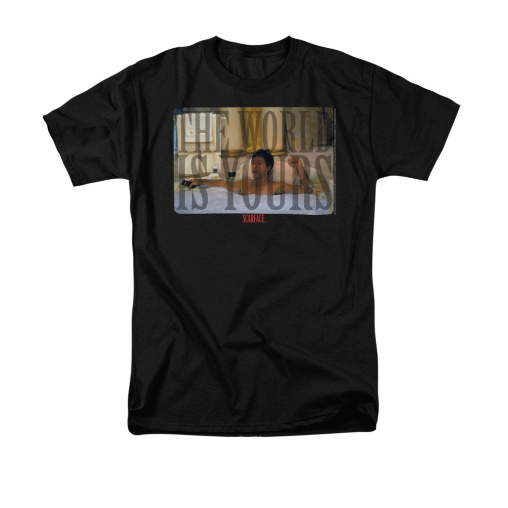 Scarface Men's Black The World Is Yours Bathtub Tee Shirt