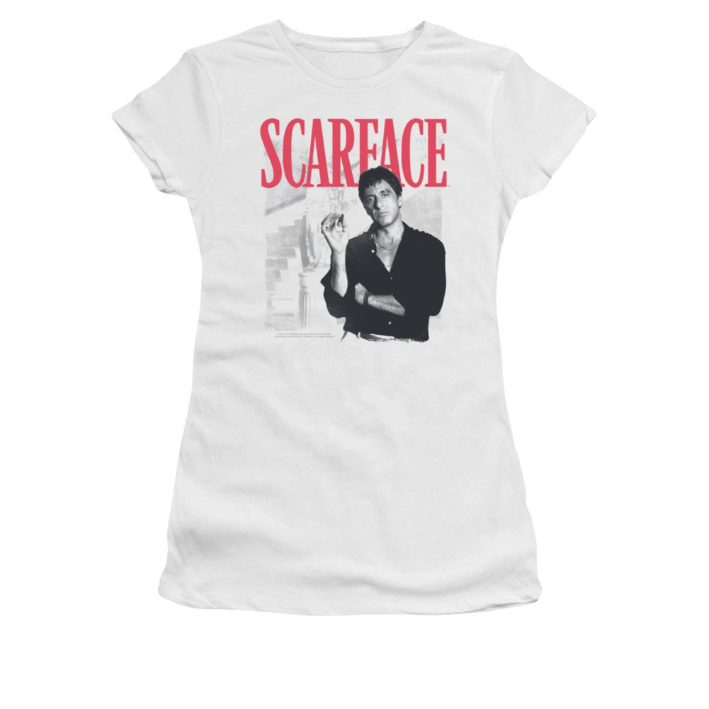 Scarface Stairway White Juniors T-Shirt