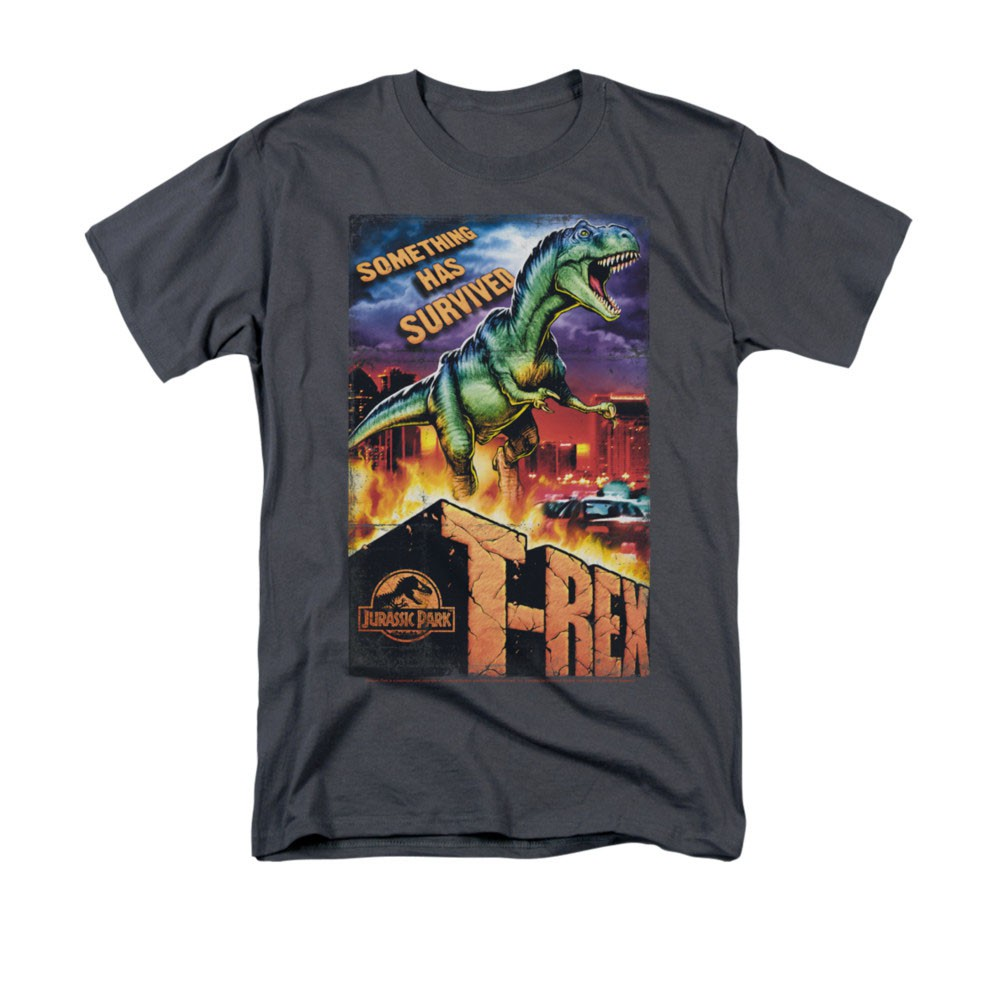 Jurassic Park Rex In The City Gray Men's Tee Shirt