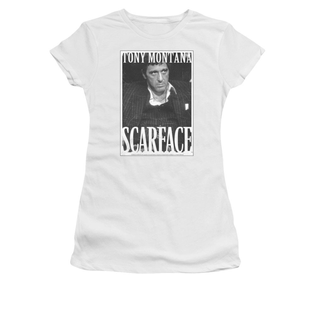 Scarface Classic Business Face White Juniors T-Shirt