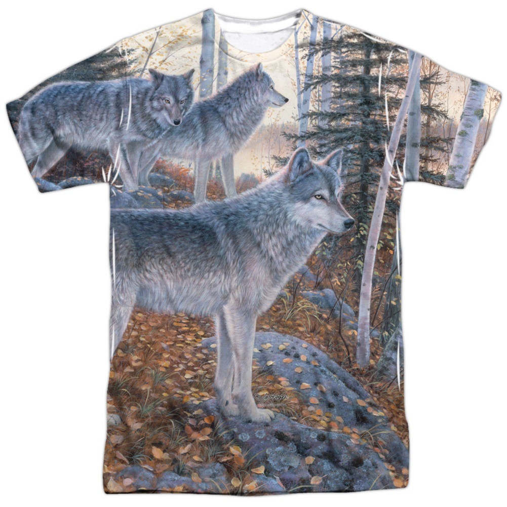 Wolf Pack Hunting and Fishing Two Sided Print Tshirt