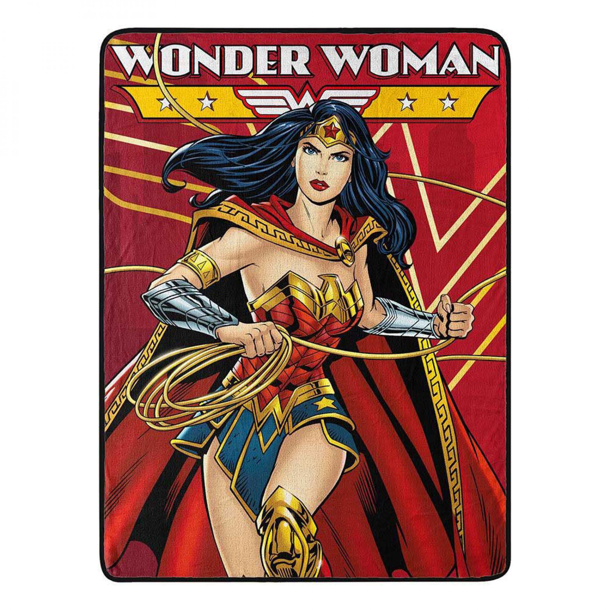Wonder Woman Defender of Justice Micro Raschel Throw Blanket