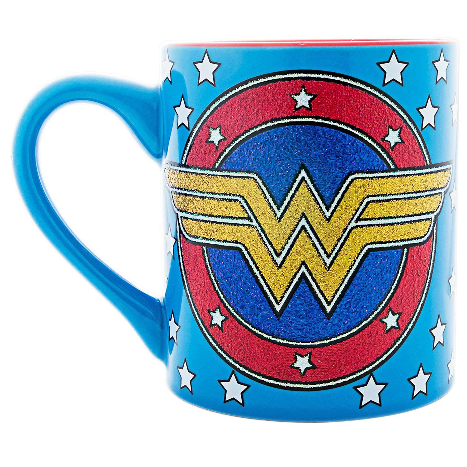 Wonder Woman Blue Glitter Coffee Mug