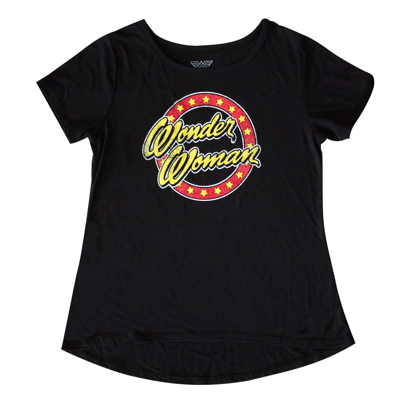 Wonder Woman Script Logo Girls 7-16 Youth Black T-Shirt