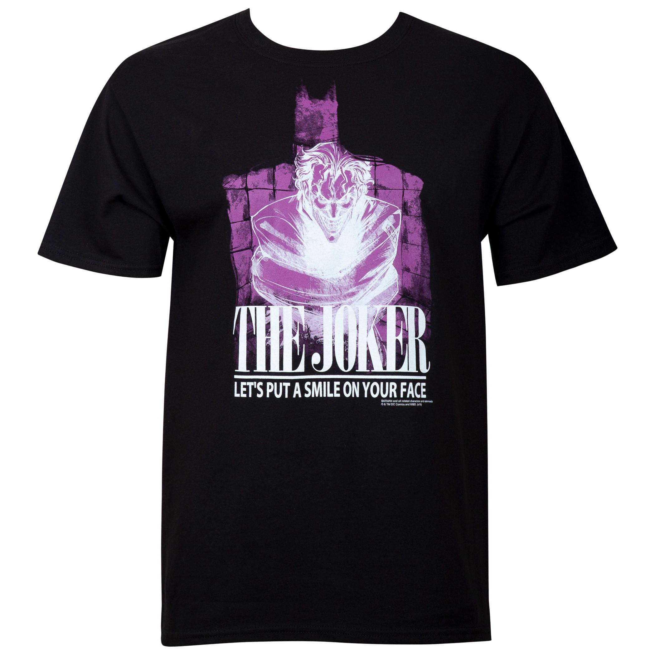 Joker Smile on Face Men's Black T-Shirt