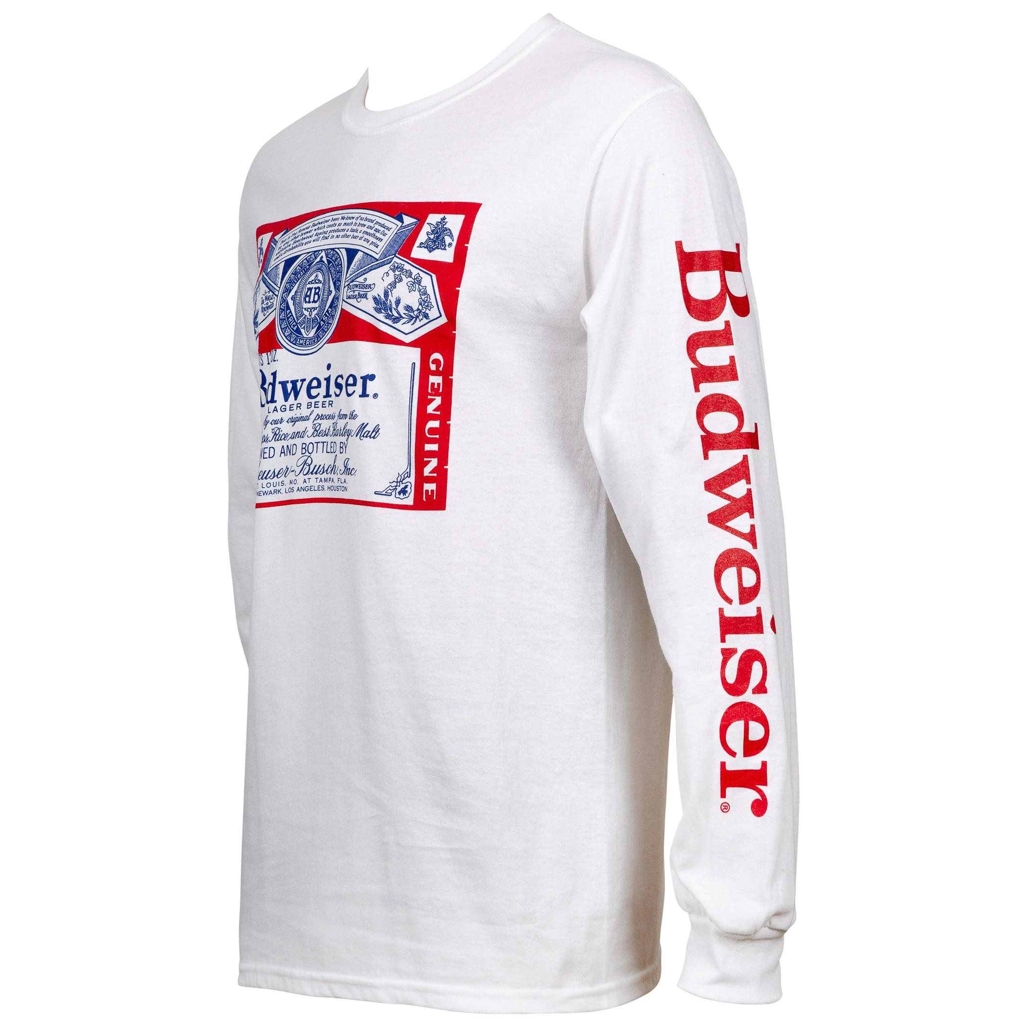 Budweiser Beer Label Men's White Long Sleeve Shirt