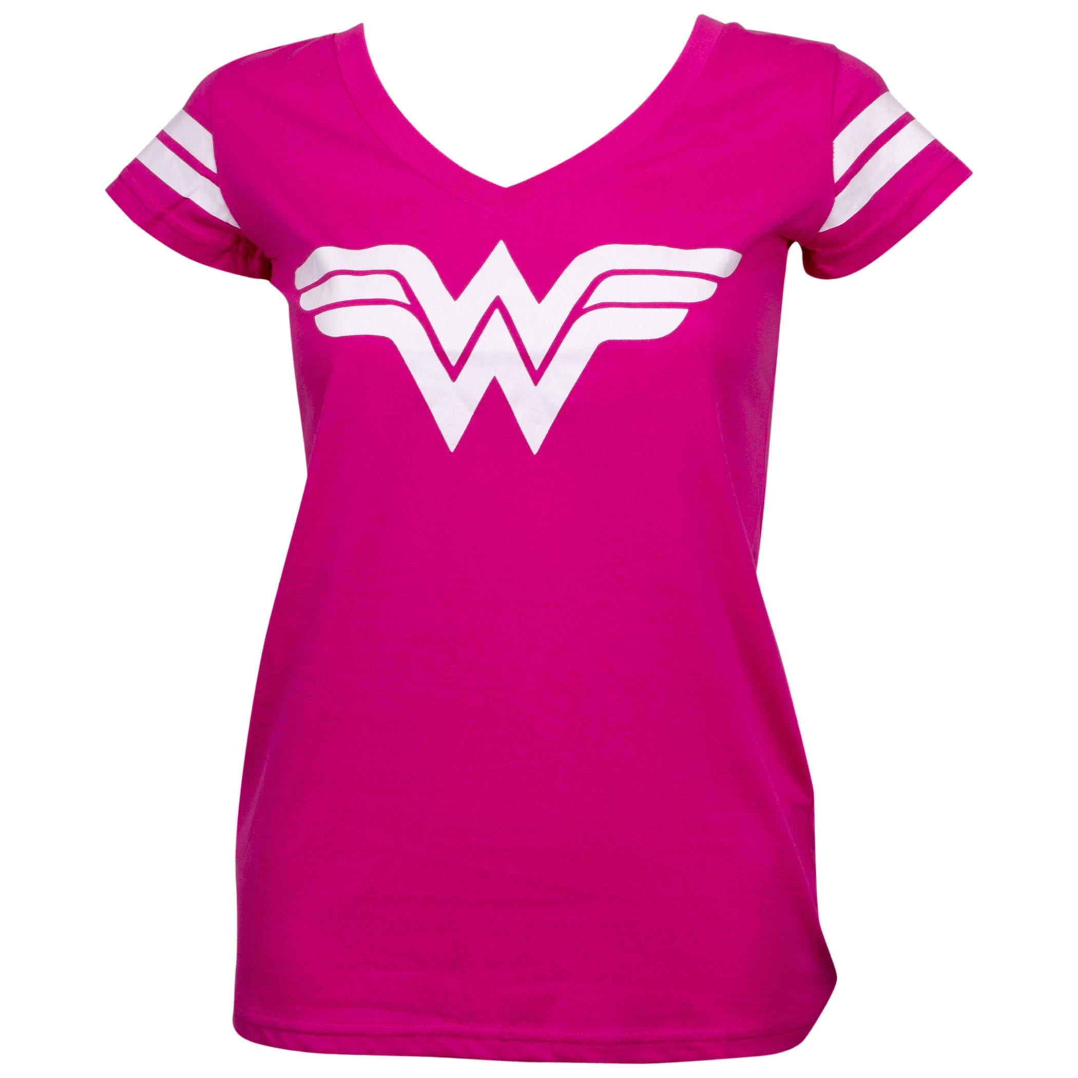 Wonder Woman Logo Hot Pink V-Neck T-Shirt with Sleeve Stripes