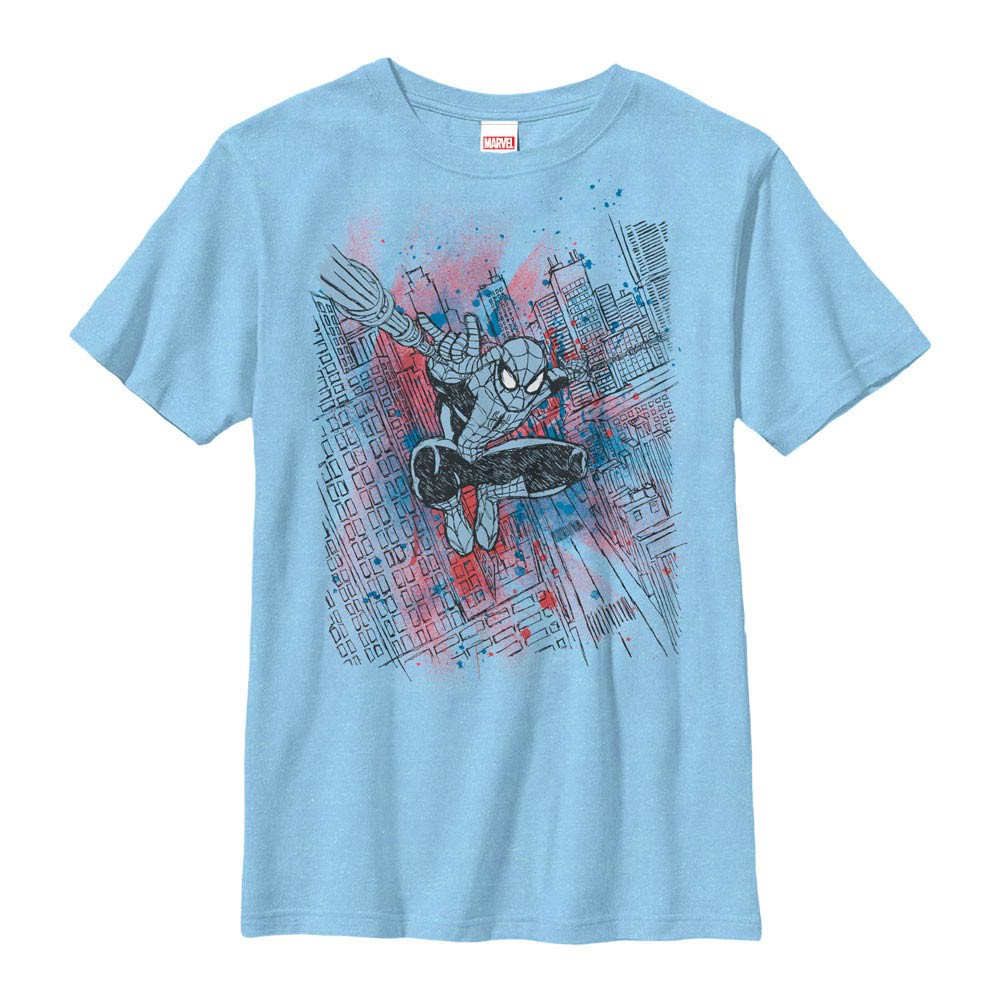 Spider-Man Sketched Out Blue Youth T-Shirt