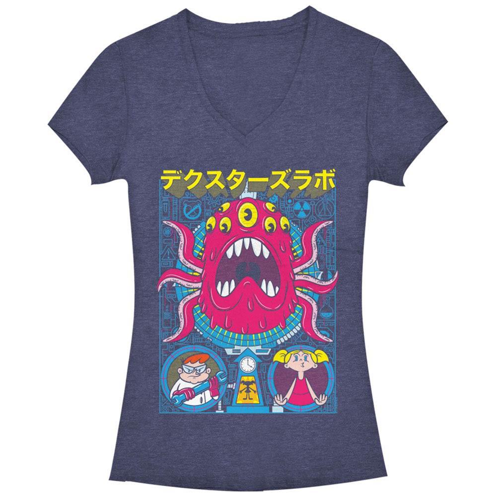 Dexter's Lab Tentacles Poster Chogrin Blue Juniors V Neck T-Shirt
