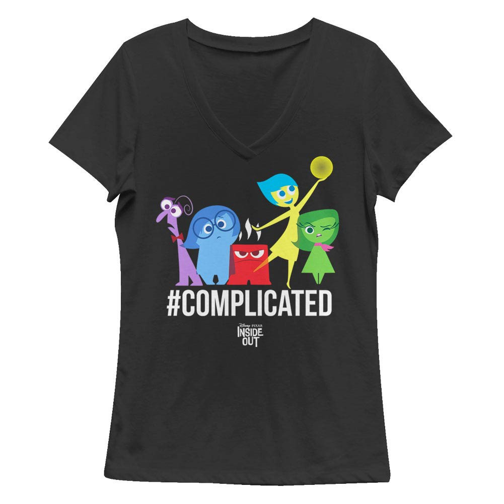 Disney Pixar Inside Out Complicated Black Juniors V Neck T-Shirt