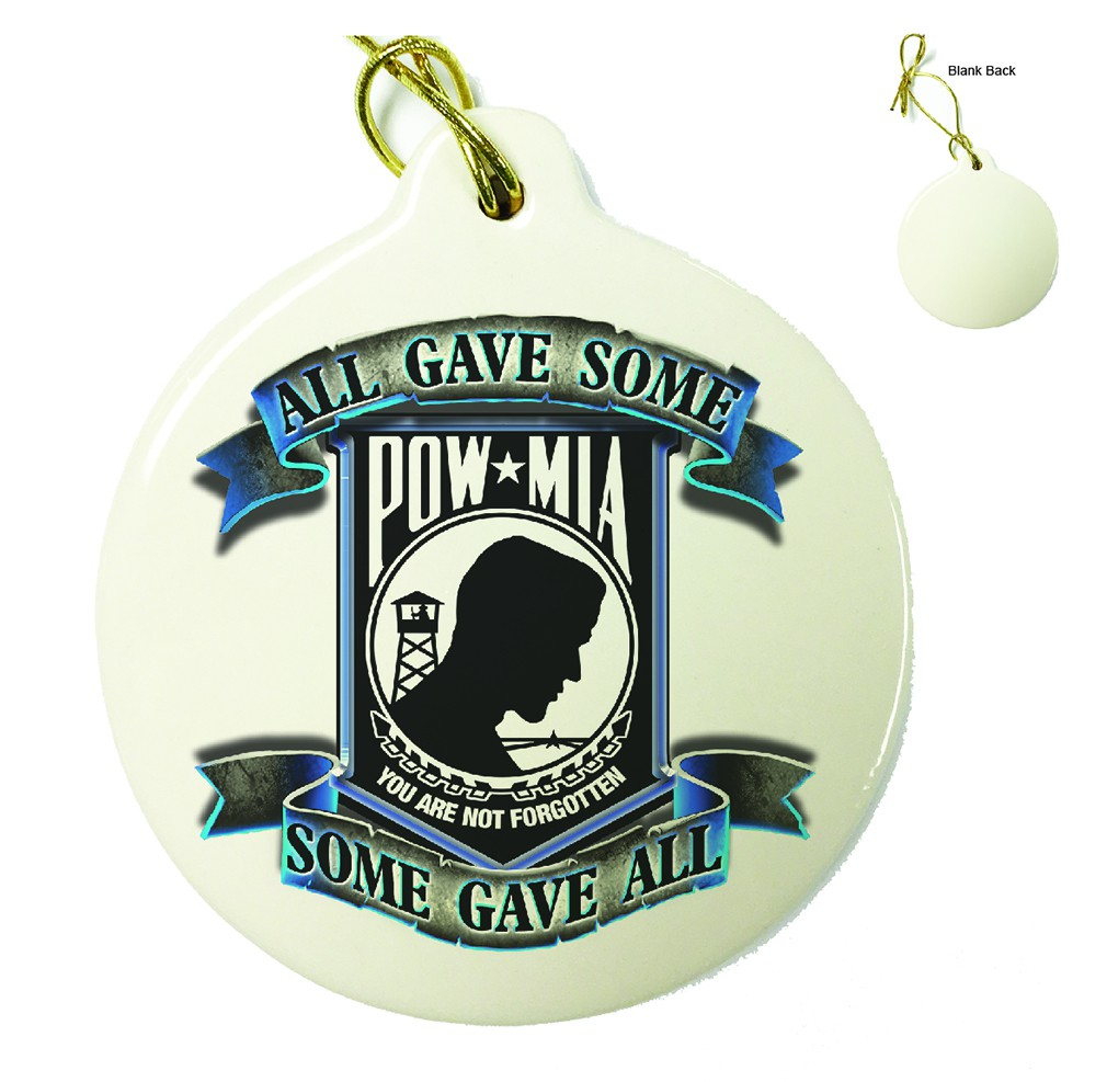 POW All Gave Some Blue Porcelain Ornament
