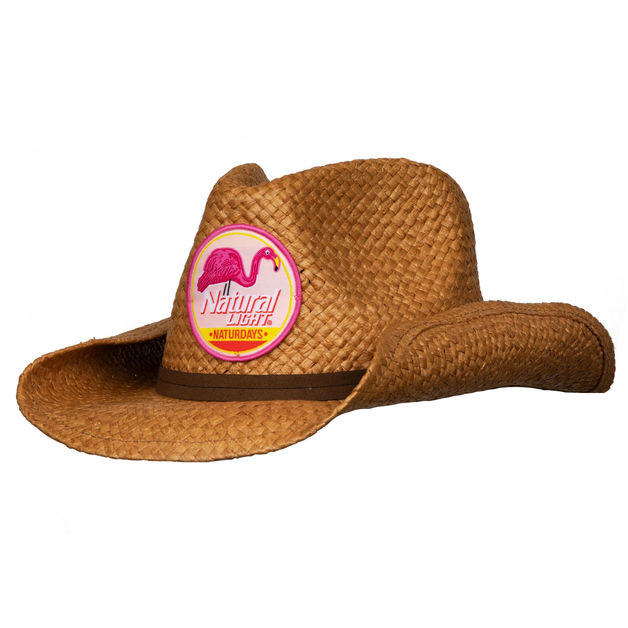 Natural Light Naturdays Straw Cowboy Hat With Brown Band