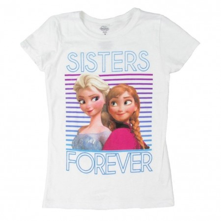 Disney Frozen Girls 7-16 White Sisters Forever T-Shirt