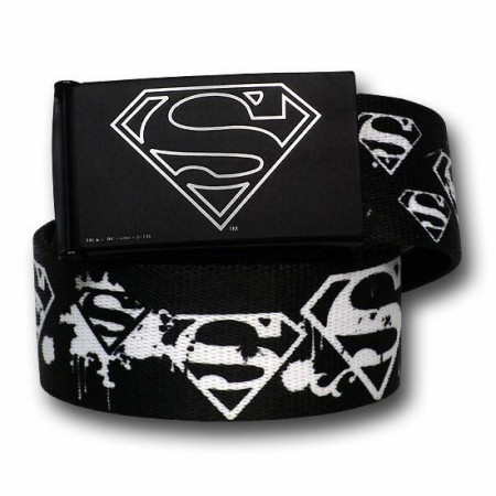"Superman White Spray Painted Web Belt - 1.50"" Adult"