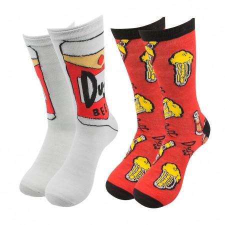 Simpsons Duff Beer 2-Pack Crew Socks