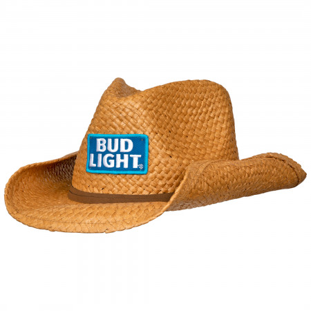 Bud Light Straw Cowboy Hat With Brown Band