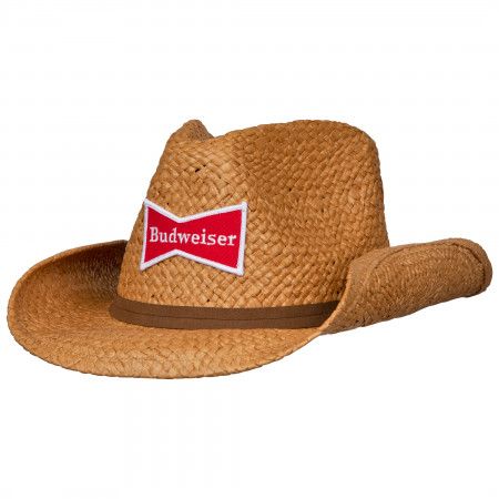 Budweiser Straw Cowboy Hat With Brown Band