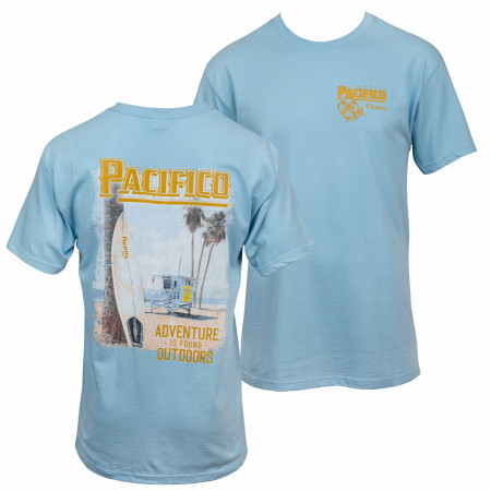 Pacifico Adventure Is Out There Beach Front and Back Print T-Shirt