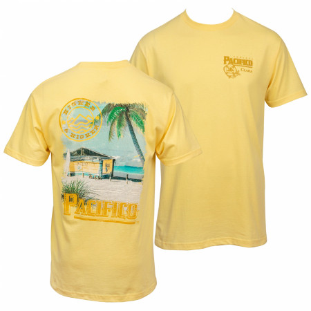 Pacifico Clara Beach Scene Front and Back Print T-Shirt