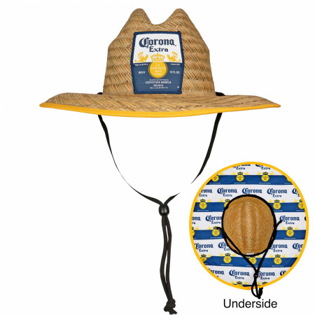 Corona Extra Straw Lifeguard Hat With Repeating Label Under Brim