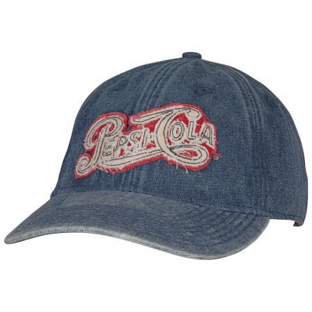 Pepsi Cola Text Acid Washed Denim Adjustable Dad Hat