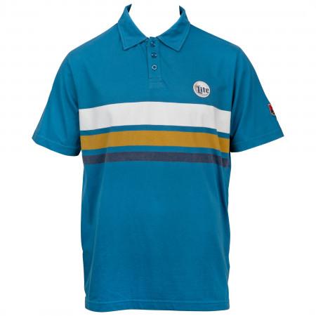 Miller Lite Beer Logo Stripes Polo Shirt