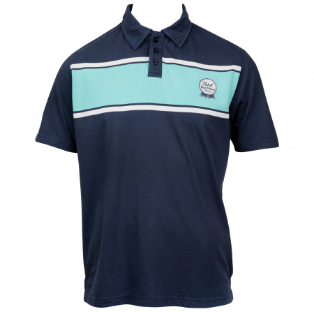 Pabst Blue Ribbon Beer Logo Stripes Polo Shirt