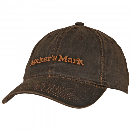 Maker's Mark Whiskey Label Oil Cloth Round Brim Adjustable Hat