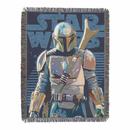 Star Wars: The Mandalorian Alone Woven Tapestry Throw Blanket