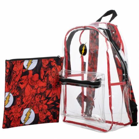 DC Comics Flash Clear with Removable Pouch Backpack