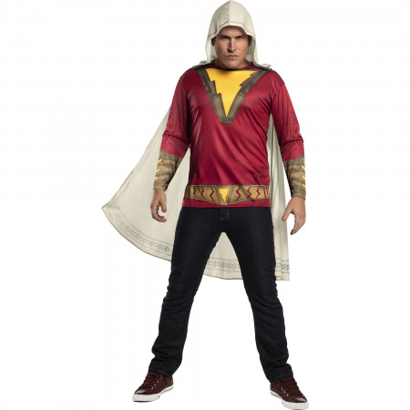 Shazam Costume T-Shirt with Cape