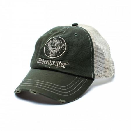 Jagermeister Distressed Patch Logo Adjustable Trucker Hat