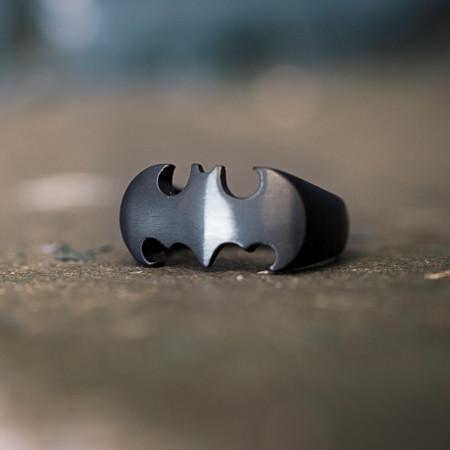 Batman Die-Cut Black Stainless Steel Ring