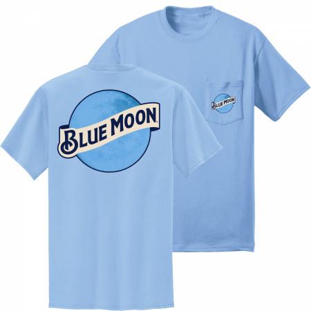 Blue Moon Front and Back Logo Printed Pocket T-Shirt