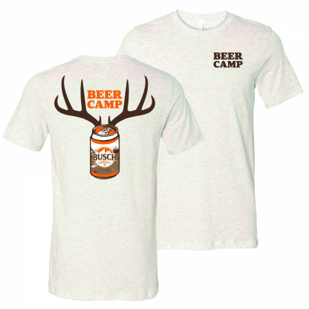 Busch Beer Hunting Beer Camp Front and Back Print Grey T-Shirt