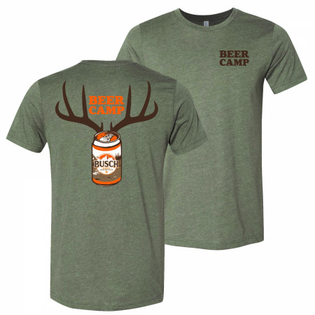 Busch Beer Hunting Beer Camp Front and Back Print Green T-Shirt