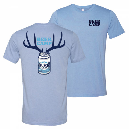 Busch Light Beer Hunting Beer Camp Front and Back Print Blue T-Shirt