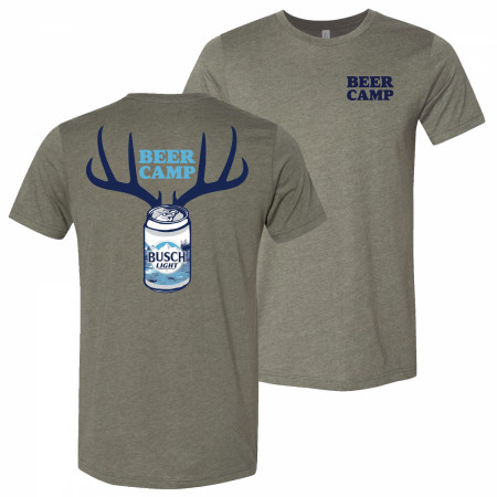 Busch Light Beer Hunting Beer Camp Front and Back Print Grey T-Shirt