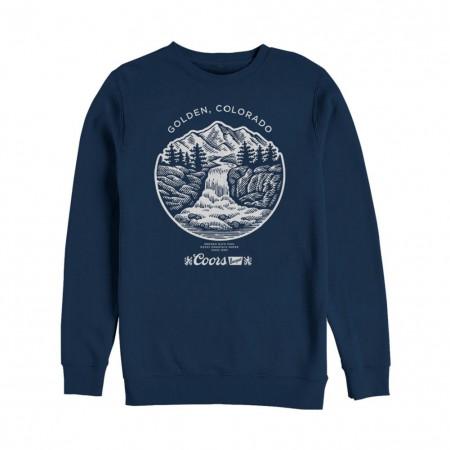 Coors Banquet Waterfall Navy Blue Crewneck Sweatshirt