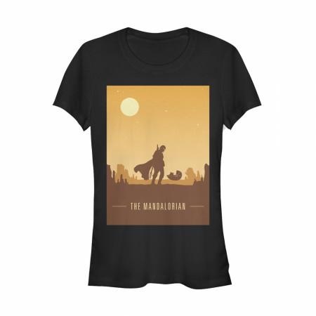 The Mandalorian Sunset The Child Juniors Black T-Shirt