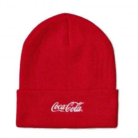 Coca-Cola Text Red Cuffed Knit Beanie