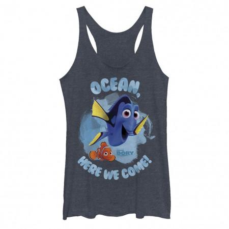 Disney Pixar Finding Dory Here We Come Blue Juniors Racerback Tank Top