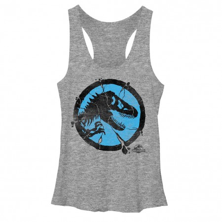 Jurassic World Crackpot Racerback Tank Gray Juniors Racerback Tank Top