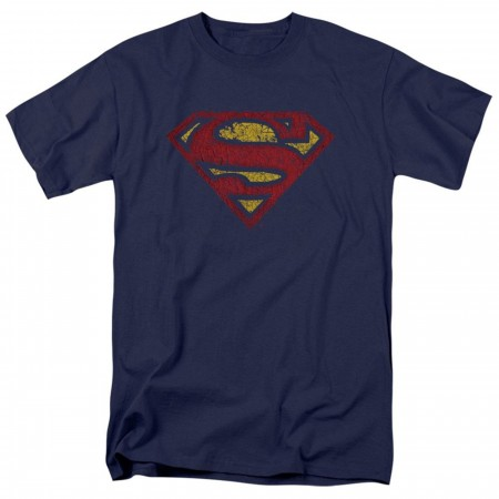 Superman Classic Logo Crackled Design Men's T-Shirt