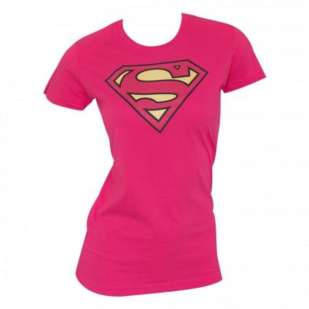 Superman Classic Logo Pink Women's T-shirt