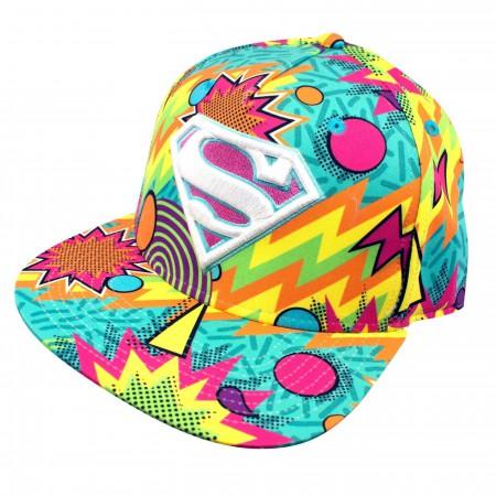 Superman Rainbow Tie Dye Men's Snapback Hat