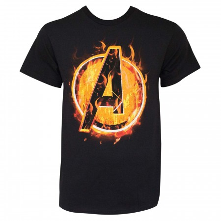 Avengers Fire Icon Black Men's T-Shirt